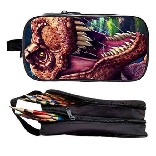 Memoryee 3D Dinosaur Canvas Studenti Astuccio per matita Borsa grande capacit Doppia cerniera Borsa...