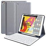 Clavier Coque pour iPad 10.2 2019,Slim PU Étu Housse pour iPad 10.2 Pouces 7ème Génération,iPad Pro 10.5' 2017/2019 avec Pen Holder, Détachable Clavier Bluetooth sans Fil,AZERTY français-Gris