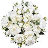 XONOR 4 Bouquets de Fleurs artificielles en Soie Pivoine Artificielle Fausse Fleur glorieuse pour la décoration de Maison Nuptiale de Noce, 5 fourchettes, 9 têtes (Blanc)