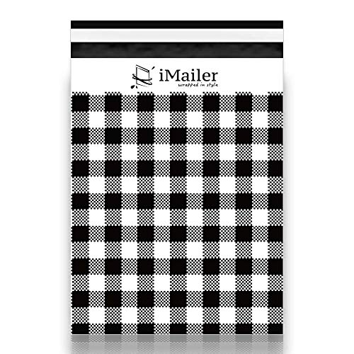 100 Count - 10' x 13', Black Gingham Plaid Poly Mailer Envelope, Mailing Shipping Bags with Self Seal Strip