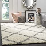 SAFAVIEH Dallas Shag Collection SGD257F Trellis Non-Shedding Living Room Bedroom Dining Room Entryway Plush 1.5-inch Thick Area Rug, 8' x 10', Ivory / Grey