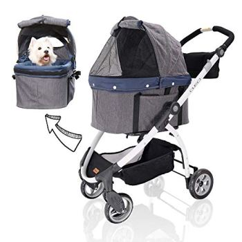 ibiyaya Detachable Pet Carrier Stroller for Dogs and Cats