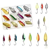 Fishing Spoon Lure Set Metal Baits for Trout, Char and Perch Fishing with Tackle Box (Pack of 12)