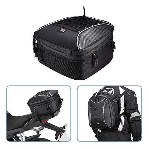 KEMIMOTO バイク用 シートバッグ 拡張機能あり 22-30L ヘルメットバッグ 撥水 防水 耐久性 固定ベルト付き cb250r ninja250 GSX-S125適合