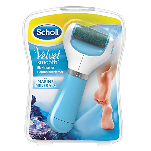 Scholl Velvet Smooth elektrischer Hornhautentferner Express blau (mit Meeresmineralien Rolle für präzise Ergebnisse, 1 Gerät inkl. Ersatzrolle)