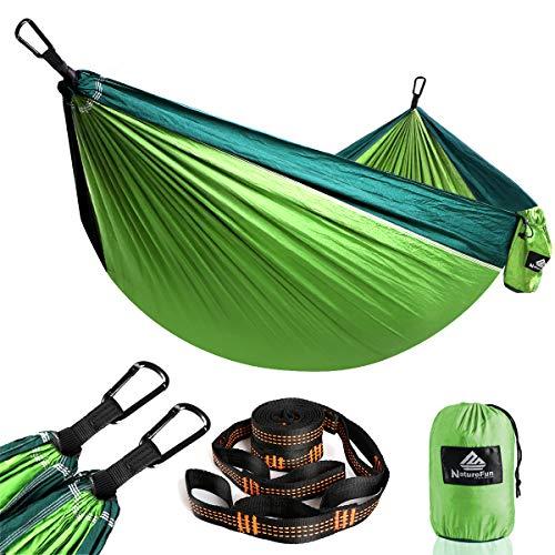 NatureFun Ultraleichte Reise Camping Hängematte | 300kg Tragkraft, (275 x 140 cm) Atmungsaktiv, Schnelltrocknendes Fallschirm Nylon | 2 x Premium Karabiner, 2 x Nylon-Schlingen Inbegriffen | Für Draußen Drinnen Garten