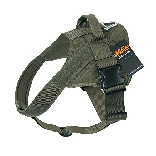 EXCELLENT ELITE SPANKER Tactical Dog Harness Patrol K9 Harness Service Dog Vest Military Dog Vest Working Dog Vest with Handle(Ranger Green-L)