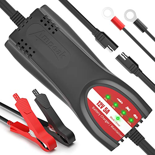 Ampeak Battery Charger Automotive: 5A 12V Auto Trickle Charger Maintainer for Cars, Motorcycles, Trucks, Boats, Lawn Mower