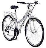 Schwinn Discover Hybrid Bike for Men and Women, 21-Speed, 28-inch Wheels, 16-inch/Small Frame, White