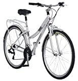 Schwinn Discover Hybrid Bike for Men and Women, 21-Speed, 28-inch Wheels, 16-inch/Small Frame, White (Sports)