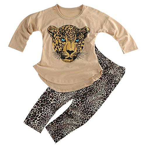 ggudd Niña Leopardo Impreso Manga Larga Tops y Polainas Pantalones Conjuntos de Trajes(Caqui,3-4 años)