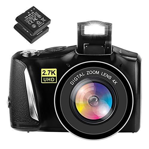 Fotocamera Digitale Macchina Fotografica 48MP 2.7K Fotocamera Digitale Compatta Full HD Fotocamere Digitali con Schermo da 3,0 Pollici con dDue Batterie Ricaricabili da 1500 mAh