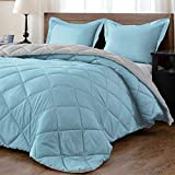 downluxe Lightweight Solid Comforter Set (Queen) with 2 Pillow Shams - 3-Piece Set - Turquoise and Gray - Down Alternative Reversible Comforter
