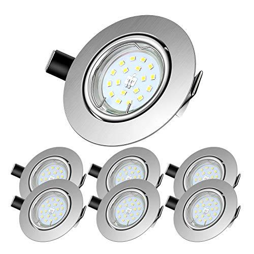 Lengjoy Faretti LED da Incasso per cartongesso,Orientabile con Porti Luce Bianco Caldo 5 W Pari a 60 W 2700 K 600 LM Angolo a Fascio 120 Gradi AC 220-240V (Set da 6 2700K Rotonde Argento)