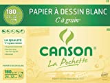 Canson - Pochette de 12 feuilles de papier dessin C A GRAIN 180g - 24x32cm