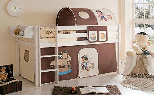 lifestyle4living Hochbett für Kinder in beige-braun-weiß mit Leiter, Vorhang im Piraten Motiv | Spielbett aus Kiefer Massivholz mit Einer Liegefläche 90x200 cm