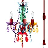 The Original 3 Light Multi Color Plug-in Gypsy Chandelier for H17' W12', Red Metal Frame with Multi Color Acrylic Crystals