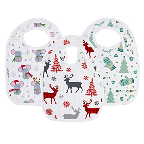 "Snap Muslin Bibs for Boys & Girls, Baby Christmas Bibs for Infants, Newborns and Toddlers,100% Cotton Muslin Absorbent & Soft Layers, Baby Christmas Gift Set, ""Jingle Bell"""