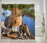 NYMB Rustic Fishing Shower Curtain Sets, Man's Fly Fishing Tool on The Wooden Pier by The Lake, Lifestyle Decor Shower Curtain Bathroom Accessories, Waterproof Fabric Bath Curtain, 69X70inches