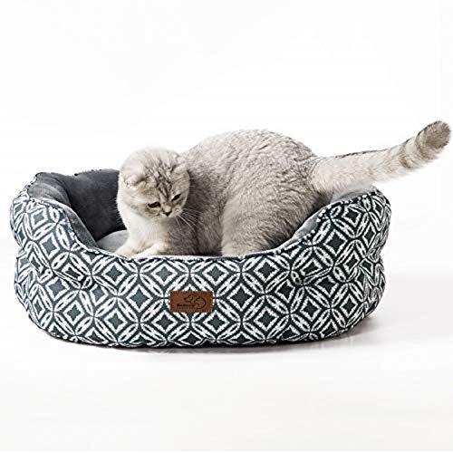 Bedsure Cuccia Gatto Media Interna - Letto Gatto Morbido, Lettino Gatto, Cuscino per Gatto 64x53x23m, Grigio
