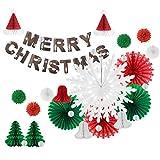 Easy Joy Noel Decoration Originale Rouge Vert Blanc Rosace Papier Flocon de...