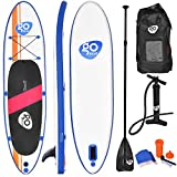 Goplus Inflatable Stand Up Paddle Board Package w/Fin Adjustable Paddle Pump Kit Carry Backpack, 6' Thick (11' Stand-Up Paddleboard)