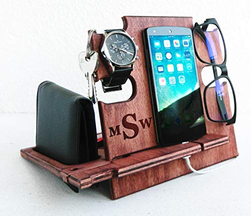 Wooden Docking Station, Christmas Gift for Him, Smartphone...