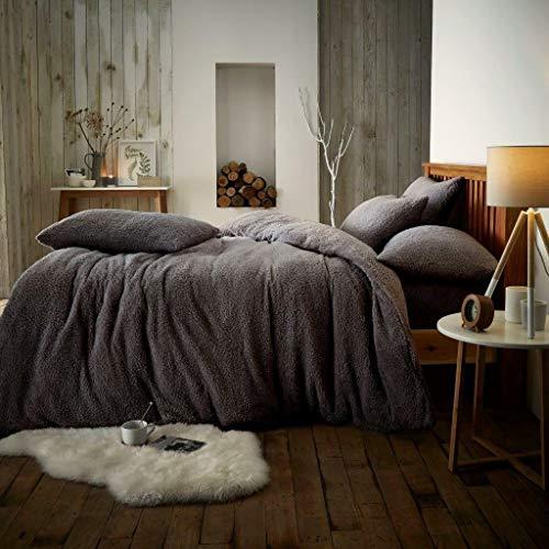Rayyan, set di biancheria da letto in pile con copripiumino e federe, in morbido pile termico, caldo...