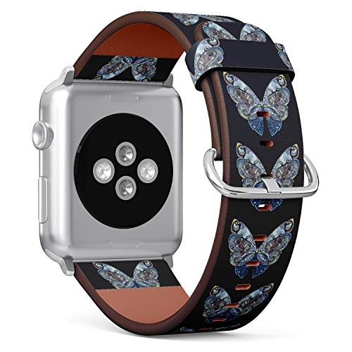 (Blue Butterfly) Patterned Leather Wristband Strap for Apple Watch Series 4/3/2/1 gen,Replacement for iWatch 38mm / 40mm Bands