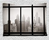 Ambesonne City Tapestry, Philadelphia City Rooftop View Through Window Skyline Landmark Rooftop Travel, Wide Wall Hanging for Bedroom Living Room Dorm, 80' X 60', Gray Black