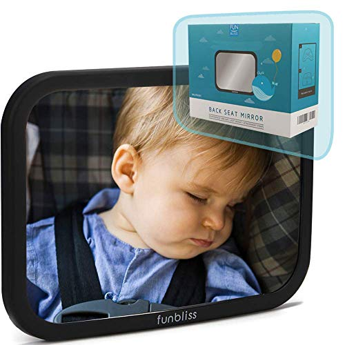 Baby Car Mirror for Back Seat Black - Safely Monitor Infant Child in Rear Facing Car Seat,See Children or Pets in BackseatBest Newborn Car Seat Accessories, Fully Assembled, Shatterproof