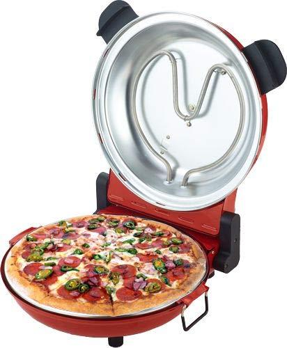 Sirge OSOLEMIO Four à pizza 1200 W - 400 °C - [Nouveauté Pierre réfractaire noire] - Diamètre 30 cm - Cuisson les pizzas en 5 min - Double résistance à haute efficacité énergétique. Minuteur 15 min