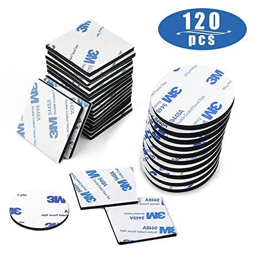 Klebepads Doppelseitig, Doppelseitige Schaumstoff-Pads, 120 Stück Doppelseitiges Klebeband Extra Stark Schwarz Klebeband Quadratisch und Rund