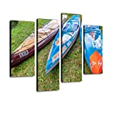 HIPOLOTUS 4 Panel Canvas Pictures Three Stand up Paddleboard by Starboard Wall Art Prints Paintings Stretched & Framed Poster Home Living Room Decoration Ready to Hang