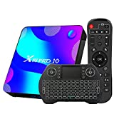TV Box Android 10.0 4GB 64GB Decodificador Smart TV Box RK3318 USB 3.0 1080P Ultra HD 4K HDR 2.4GHz 5.8GHz BT 4.1 Reproductor Multimedia de Transmisión con Mini Teclado Inalámbrico Retroiluminado