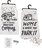 J4U Camping Kitchen Set - Home Is Where You Park It Towel, Life Is Better When You're Camping Towel, and Dragonfly Charm with Gift Tag