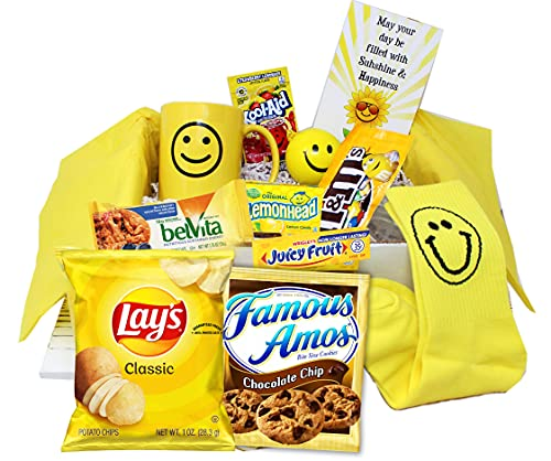 Sunshine Care Package   Thinking of You Gift Basket   Girlfriend gift   Yellow Happy Gift box for Birthday gift for TEEN girl, boy BFF best friend gift college student   Friendship, Encouragement