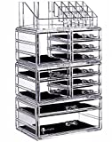 Makeup Organizer Countertop Acrylic,3 Piece Stackable Design Make Up Cosmetics Storage Stand with 11 Drawers,For Cosmetics,Skincare,Vanity,Bathroom,Clear By Cq acrylic