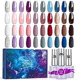 Esmalte de uñas en gel Skymore, 20 colores, con base, capa superior y capa superior mate