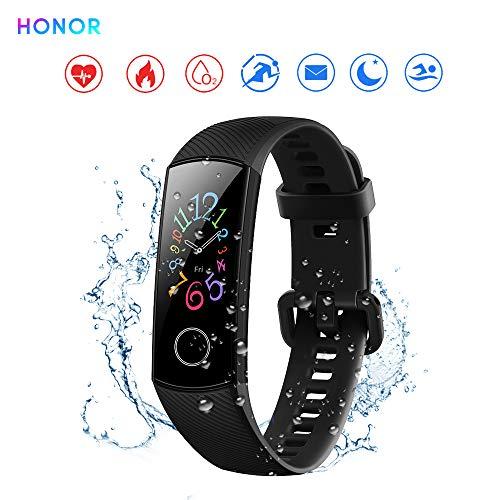 "Honor Band 5 Reloj Inteligente 0.95""Gran Pantalla a Todo Color AMOLED Fitness Pulsera Inteligente Monitoreo Inteligente 5ATM a Prueba de Agua (Negro)"