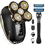 OriHea Men's Shaver Electric Shaver with Handle Shaver,LED Mens Electric Shaving Razors Rechargeable Cordless, Wet Dry Rotary Shaver Grooming Kit Waterproof Shaver with Hair Clippers Nose Hair Trimmer