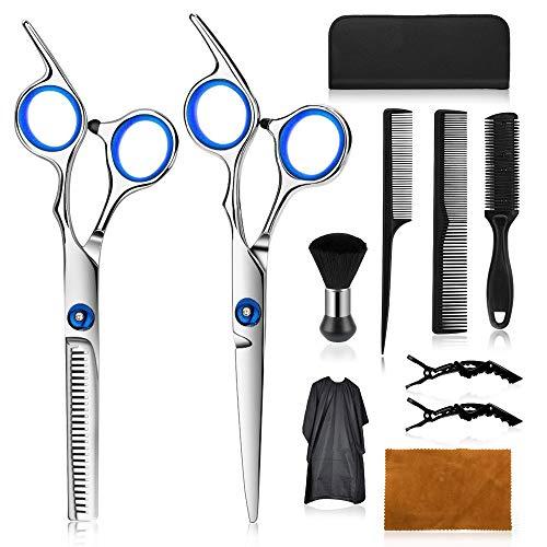Wrei Forbici dei Capelli,Forbici Parrucchiere Pofessionali Set,Forbici da barbiere, Fermagli, Set da Barbiere Professionale con Cappotto da Barbiere e Pettine da Rasoio (Blu e bianco)