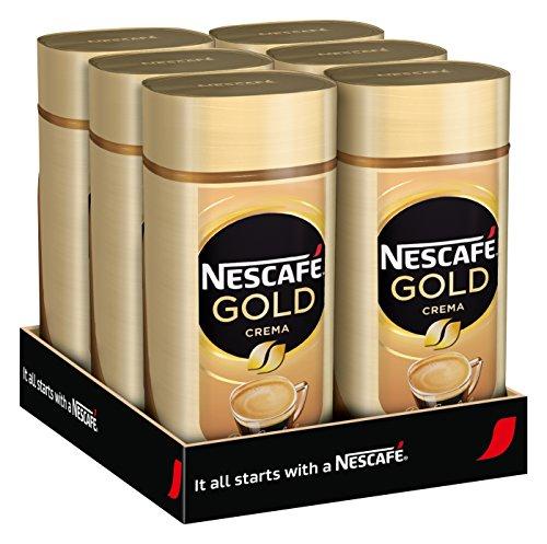 NESCAFÉ Gold Crema, löslicher Bohnenkaffee aus erlesenen Arabica-Kaffeebohnen, Instant-Pulver, koffeinhaltig & aromatisch, 6er Pack (6 x 200 g)