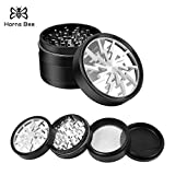 Horns Bee Lightning Pattern Herb Grinder with Clear Top,4 piece 2.5',Aluminum Alloy (silver)