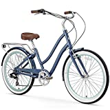 sixthreezero EVRYjourney Women's 7-Speed Step-Through Hybrid Cruiser Bicycle, 24' Wheels and 14' Frame, Navy with Brown Seat and Grips