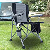 Homcosan Portable Camping Chair Folding Quad Outdoor Large Heavy Duty Support 330 lbs Thicken 600D Oxford with Padded Armrests, Storage Bag, Beverage Holder, Carry Bag for Outside(Grey)