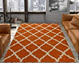 Ottomanson Collection shag Area Rug, 5'3' x 7', Orange