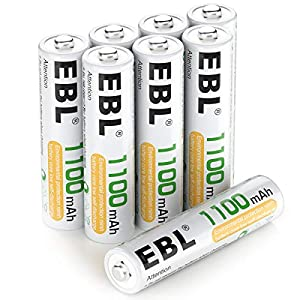 Battery: Pack of 8 AAA 1100mAh Ni-MH rechargeable batteries ProCyco technology - EBL batteries can be recharged up to 1200 times when fully or partially drained Improved low self discharge makes it still maintain 80% of capacity after 3 year of non-u...