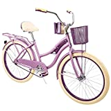 "Huffy 24"" Womens Nel Lusso Cruiser Bike with Basket, Purple"