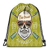 Ahdyr Mochila con cordón True Bearded Hipster Skull con Gafas de Sol Friki y Flechas Cruzadas Crazy Deadman Insignia TEM para la Escuela o los Viajes